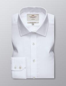 Bügelfreies Businesshemd – Slim Fit – Kentkragen – strukturiert weiß