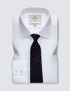 Men's Business White Slim Fit Shirt - Single Cuff - Non Iron