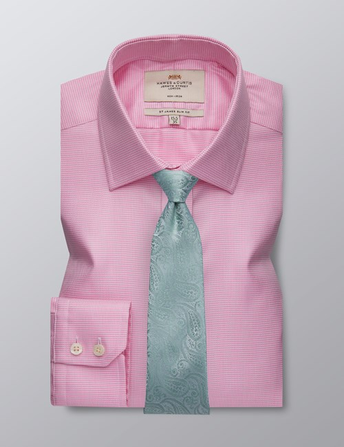 Bügelfreies Businesshemd – Slim Fit – Kentkragen – Wabenstruktur pink