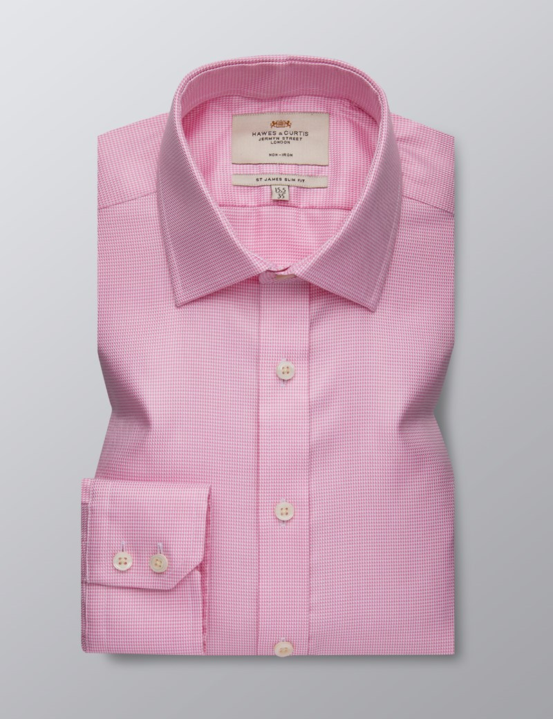 Men's Formal Pink Slim Fit Shirt - Single Cuff - Non Iron