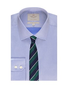 Men's Blue Pique Slim Fit Dress Shirt - Single Cuff - Easy Iron