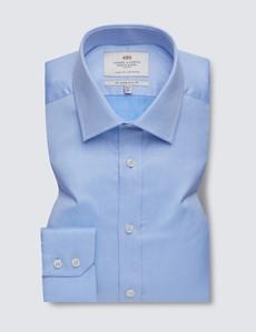 Bügelleichtes Businesshemd – Slim Fit – Kentkragen – Piqué blau