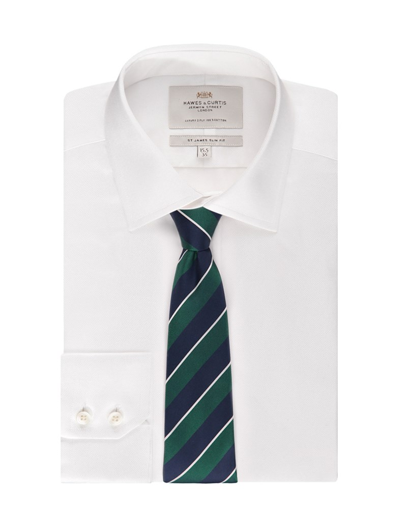 Men's White Pique Slim Fit Dress Shirt - Single Cuff - Easy Iron