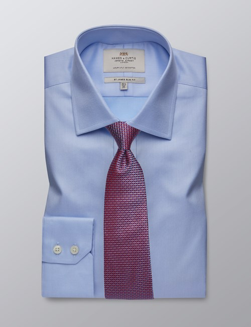 Men's Formal Light Blue Pique Slim Fit Shirt - Single Cuff - Easy Iron