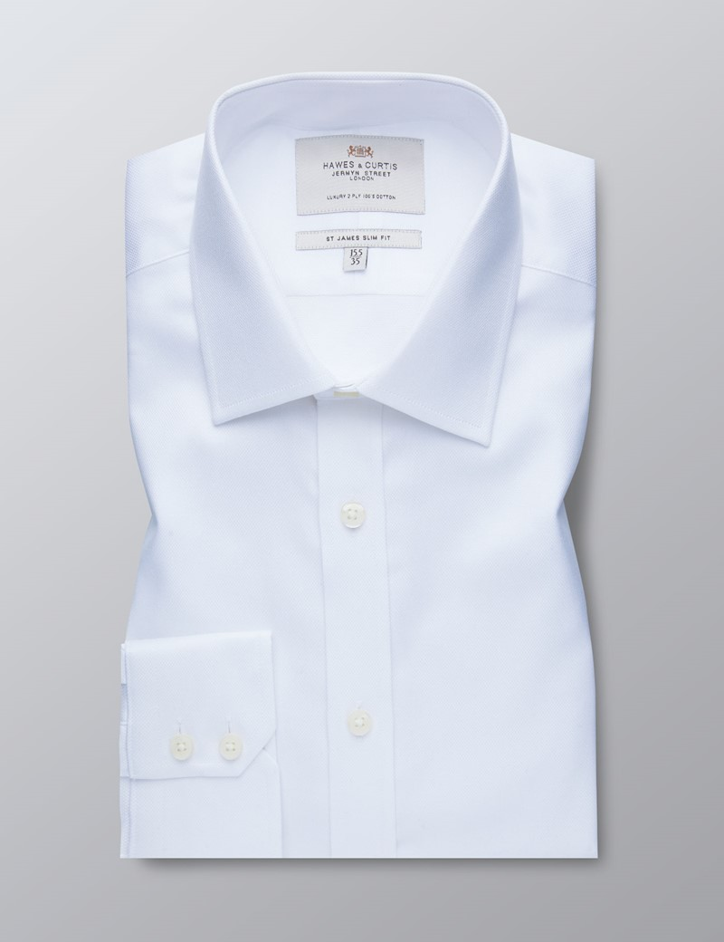 Men's Formal White Pique Slim Fit Shirt - Single Cuff - Easy Iron
