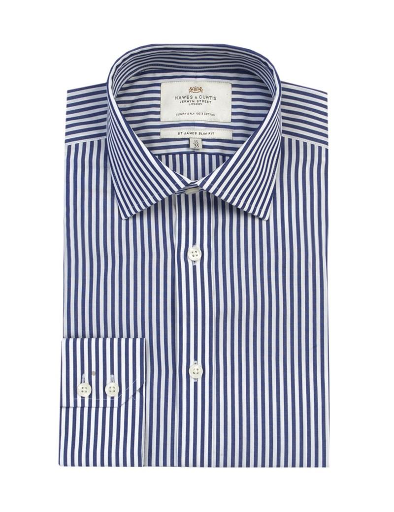 Men's Navy & White Bengal Stripe Slim Fit Shirt - Single Cuff