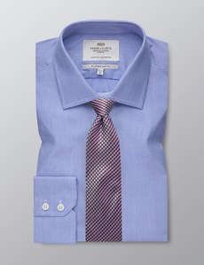 Men's  Blue With Fine White Stripes Slim Fit Business Shirt - Single Cuff - Easy Iron