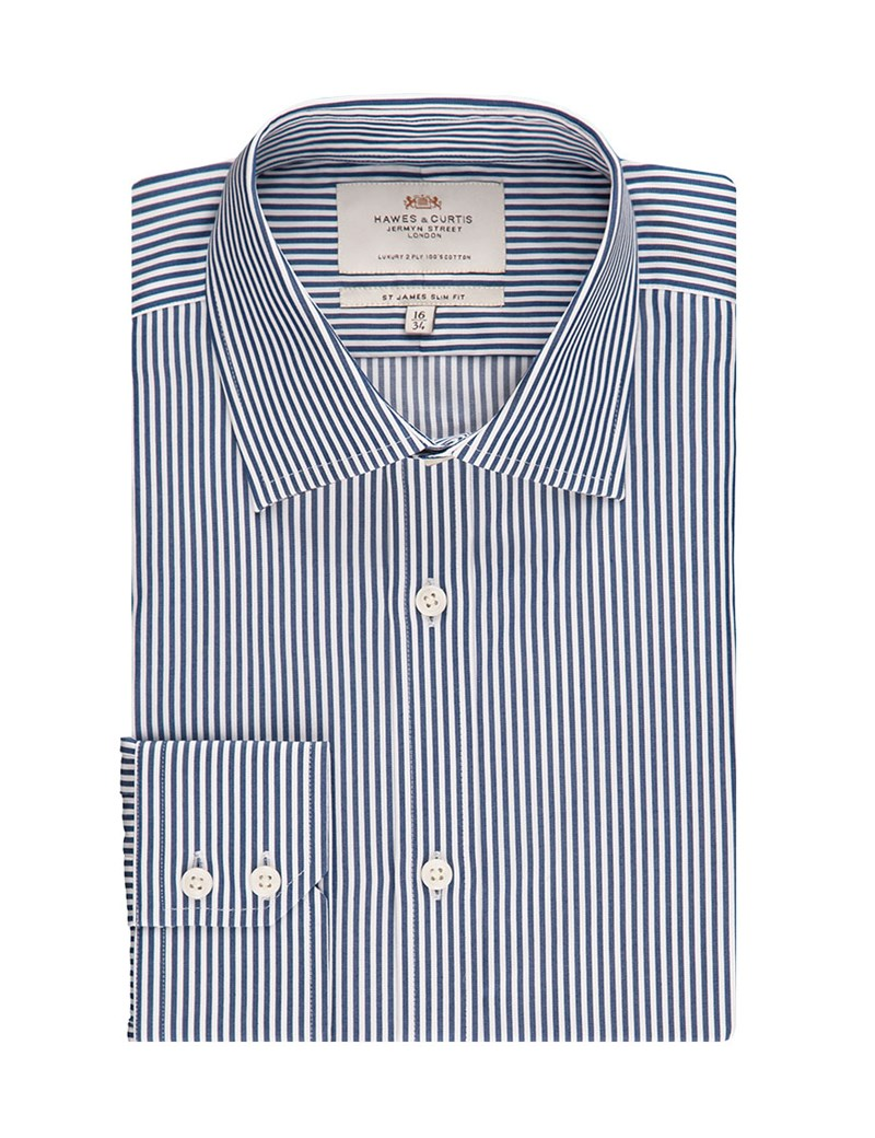 Men's Formal Navy & White Stripe Slim Fit Shirt - Single Cuff - Easy Iron