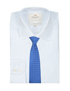 Men's Dress White & Light Blue Stripe Slim Fit Shirt - Single Cuff - Easy Iron