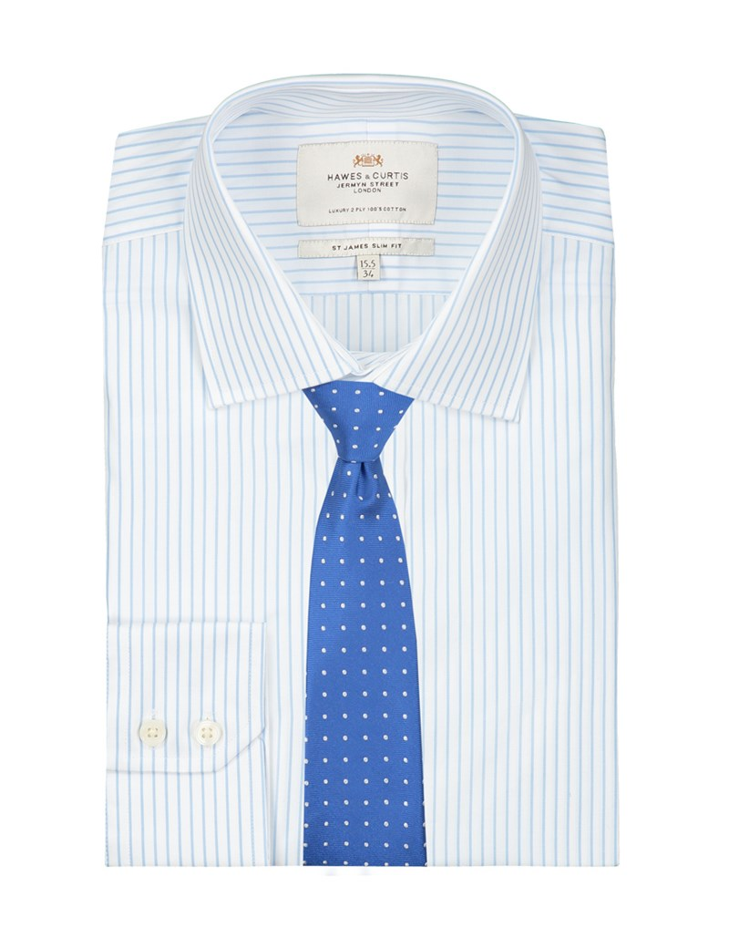 Men's Formal White & Light Blue Stripe Slim Fit Shirt - Single Cuff - Easy Iron