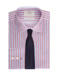 Men's  Blue & Orange Multi Stripe Slim Fit Business Shirt - Single Cuff - Easy Iron