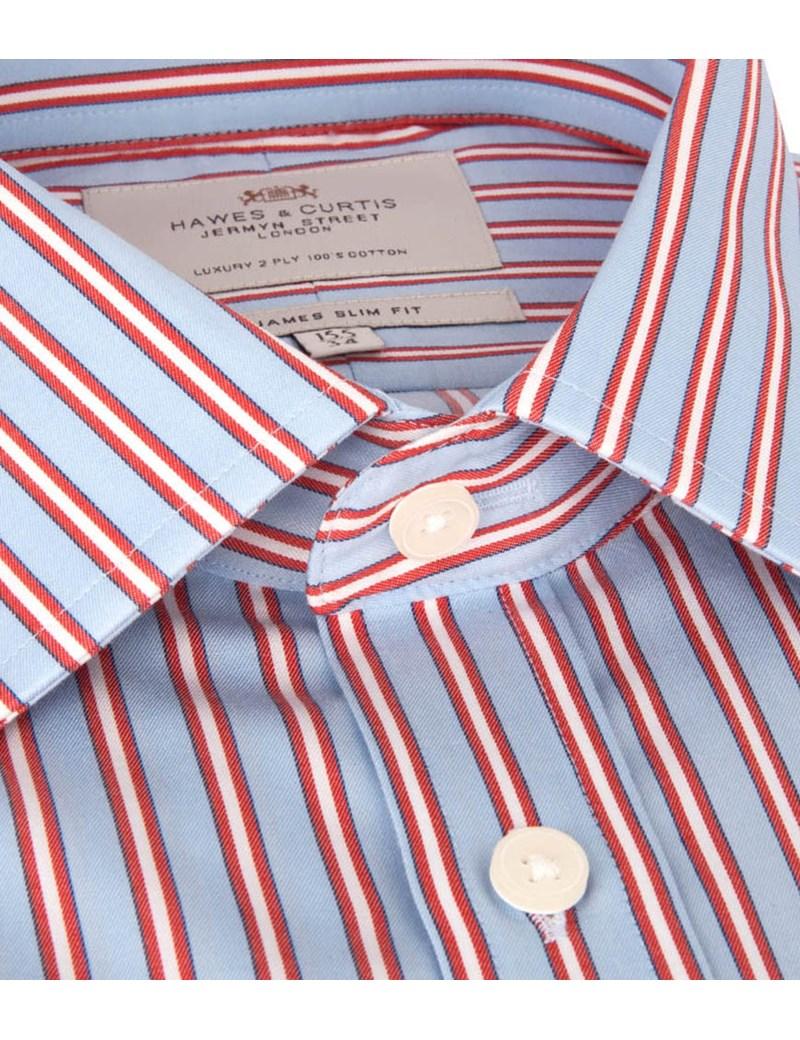 Men's Blue & Orange Multi Stripe Slim Fit Dress Shirt - Single Cuff - Easy Iron