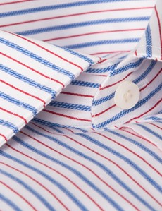 Men's Formal Blue & Red Multi Stripe Slim Fit Shirt - Single Cuff - Easy Iron