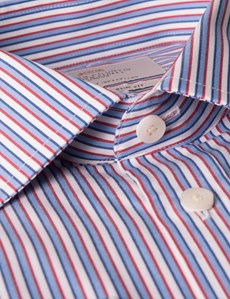 Men's Blue & Red Multi Stripe Slim Fit Business Shirt - Single Cuff - Easy Iron