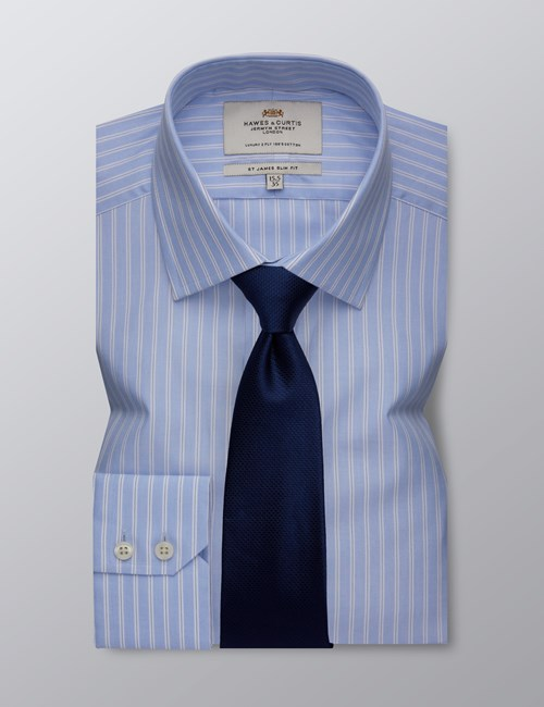 Men's Dress Blue & White Multi Stripe Slim Fit Shirt - Single Cuff - Easy iron