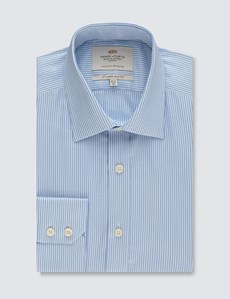Men's Formal Blue & White Stripe Slim Fit Shirt - Single Cuff - Easy iron