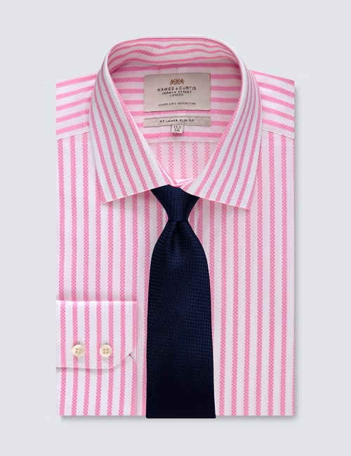 Men's Business Pink & White Bengal Stripe Slim Fit Shirt - Single Cuff - Easy iron