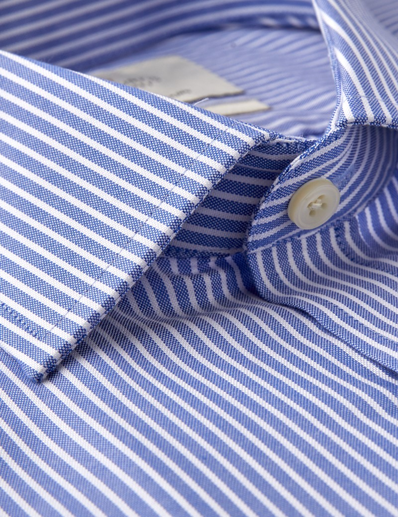 Men's Business Blue & White Fine Stripe Slim Fit Shirt - Single Cuff - Easy iron