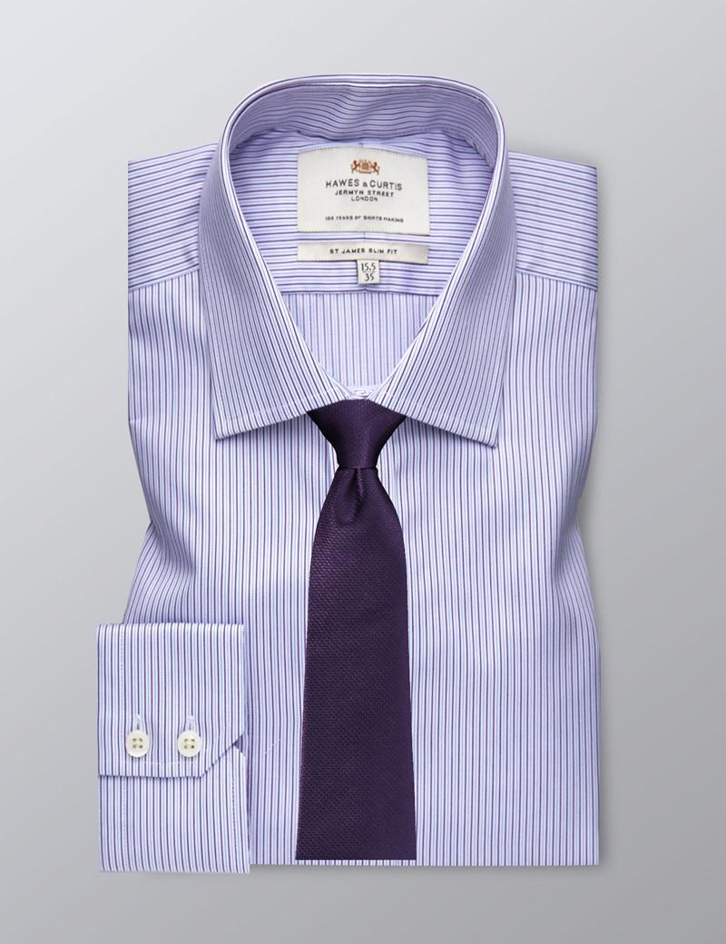 Men's Formal Purple & Blue Fine Stripe Slim Fit Shirt - Single Cuff - Easy iron