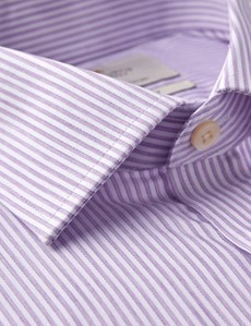 Men's Dress White & Lilac Fine Stripe Slim Fit Shirt - Single Cuff - Easy iron