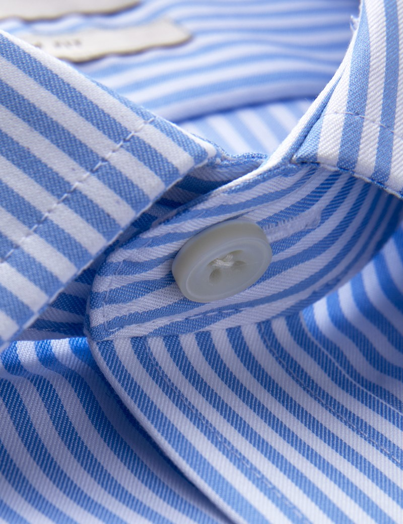 Men's Business Blue & White Bengal Stripe Slim Fit Shirt - Single Cuff - Non Iron
