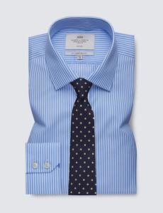 Men's Formal Blue & White Bengal Stripe Slim Fit Shirt - Single Cuff - Non Iron