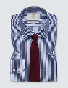 Men's Dress Navy & White Bengal Stripe Slim Fit Shirt - Single Cuff - Non Iron