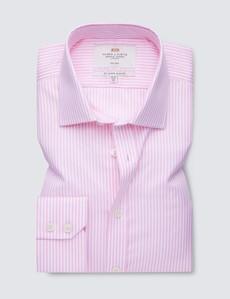 Men's Formal Pink & White Bengal Stripe Slim Fit Shirt - Single Cuff - Non Iron