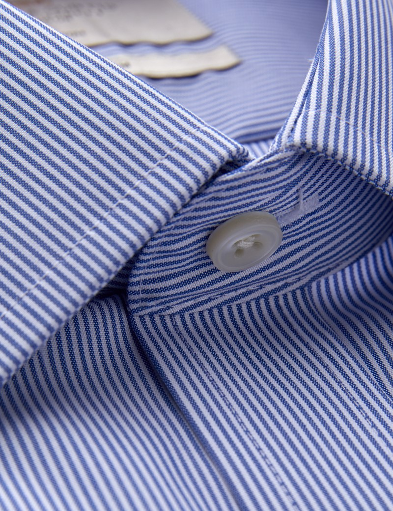 Men's Formal Blue & White Stripe Slim Fit Shirt - Single Cuff - Non Iron