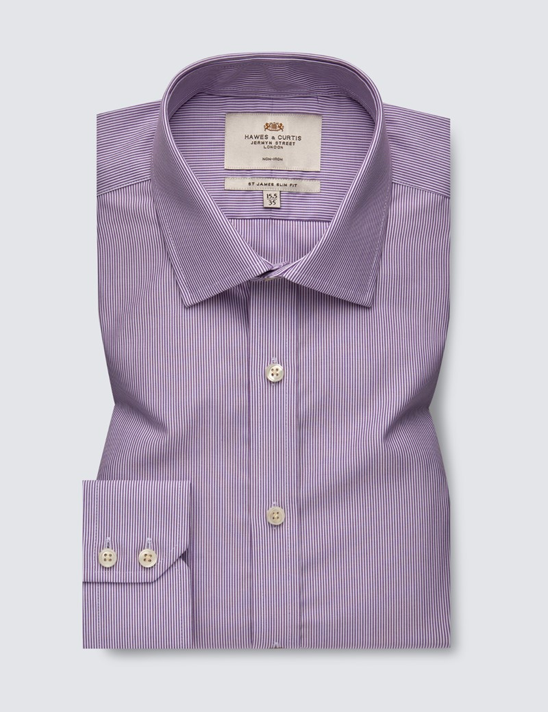 Men's Dress Lilac & White Stripe Slim Fit Shirt - Single Cuff - Non Iron