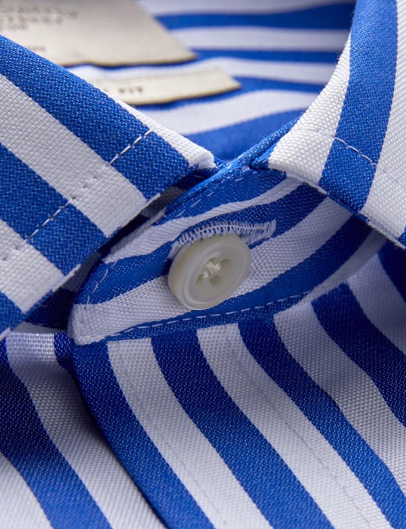 Men's Dress Royal & White Stripe Slim Fit Shirt - Single Cuff - Non Iron
