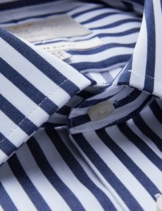Men's Business Navy & White Bold Stripe Slim Fit Shirt - Single Cuff - Non Iron