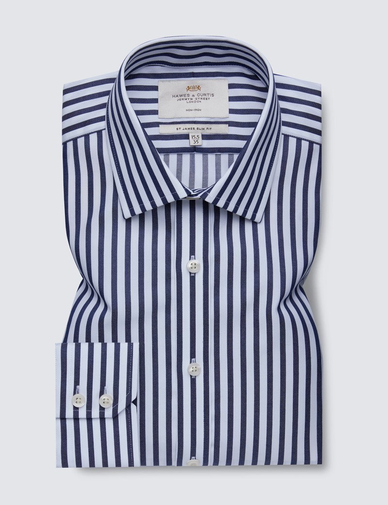 Men's Dress Navy & White Bold Stripe Slim Fit Shirt - Single Cuff - Non Iron