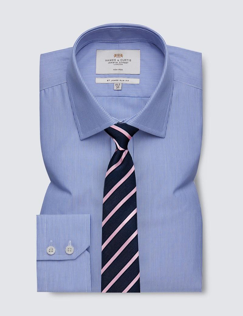 Men's Dress Blue & White Fine Stripe Slim Fit Shirt - Single Cuff - Non Iron