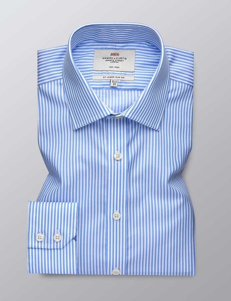 Men's Business Blue & White Bengal Stripe Slim Fit Shirt - Single Cuff - Non Iron