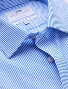 Men's Formal Blue & White Bengal Stripe Slim Fit Single Cuff Shirt - Non Iron