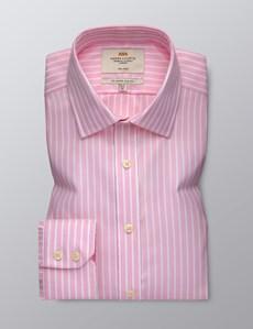 Men's Dress Pink & White Bi Coloured Stripe Slim Fit Shirt - Single Cuff - Non Iron