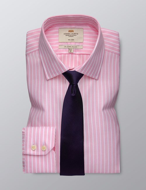 Men's Business Pink & White Bi Coloured Stripe Slim Fit Shirt - Single Cuff - Non Iron