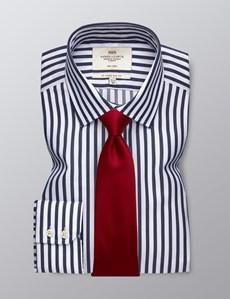 Men's Dress Navy & White Bengal Stripe Slim Fit Shirt - Single Cuff - Non Iron