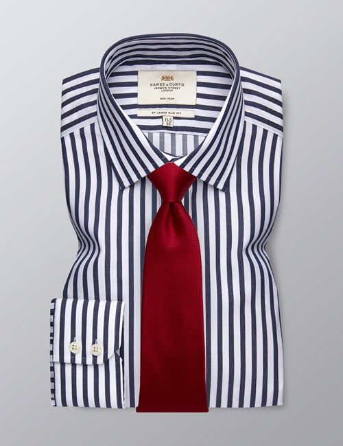 Men's Formal Navy & White Bengal Stripe Slim Fit Shirt - Single Cuff - Non Iron