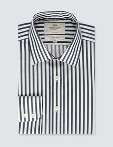 Men's Formal Navy & White Stripe Slim Fit Shirt - Single Cuff - Non Iron