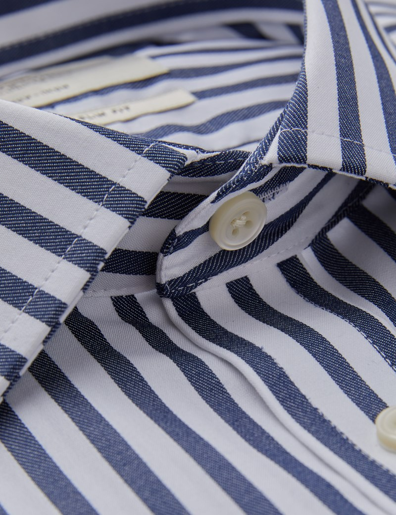 Men's Business Navy & White Stripe Slim Fit Shirt - Single Cuff - Non Iron