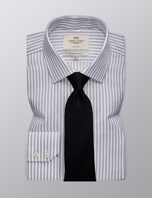 Men's Dress Grey & White Bengal Stripe Slim Fit Shirt - Single Cuff - Non Iron