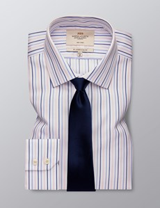 Men's Business Blue & Pink Multi Stripe Slim Fit Shirt - Single Cuff - Non Iron