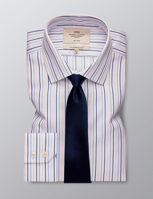 Men's Formal Blue & Pink Multi Stripe Slim Fit Shirt - Single Cuff - Non Iron