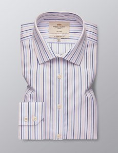 Men's Dress Blue & Pink Multi Stripe Slim Fit Shirt - Single Cuff - Non Iron