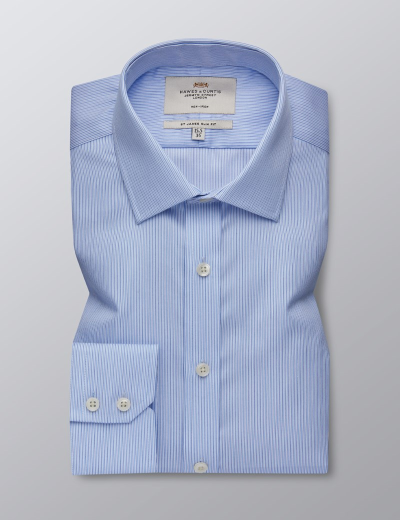 Men's Dress Navy & Blue Multi Stripe Slim Fit Shirt - Single Cuff - Non Iron