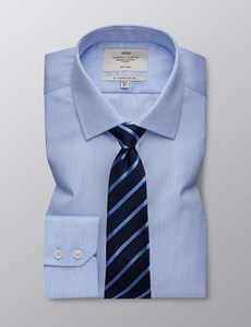 Men's Formal Navy & Blue Multi Stripe Slim Fit Shirt - Single Cuff - Non Iron
