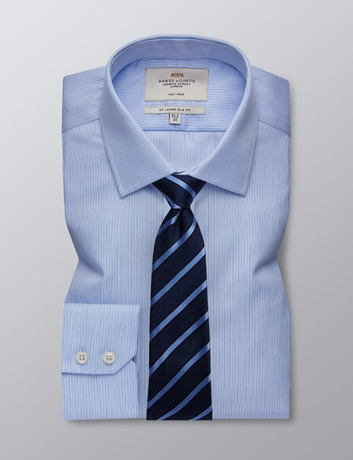 Men's Business Navy & Blue Multi Stripe Slim Fit Shirt - Single Cuff - Non Iron