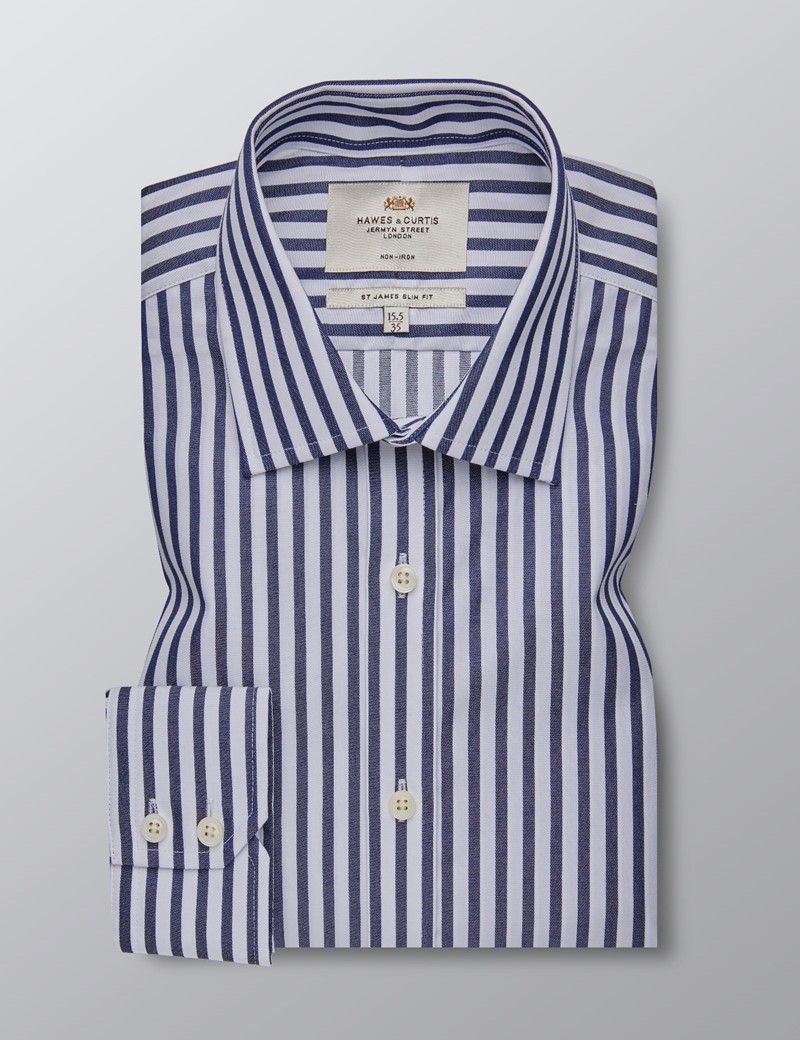 Men's Formal Navy & White Bold Stripe Slim Fit Shirt - Single Cuff - Non Iron